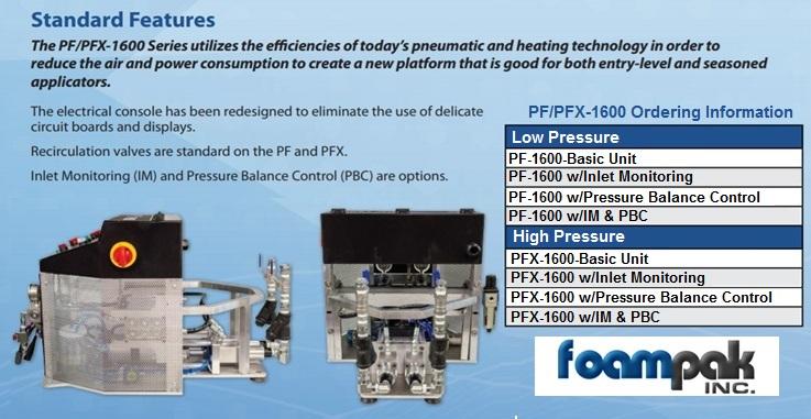 PMC PF1600 Machines replace FF-1600 - Foampak net